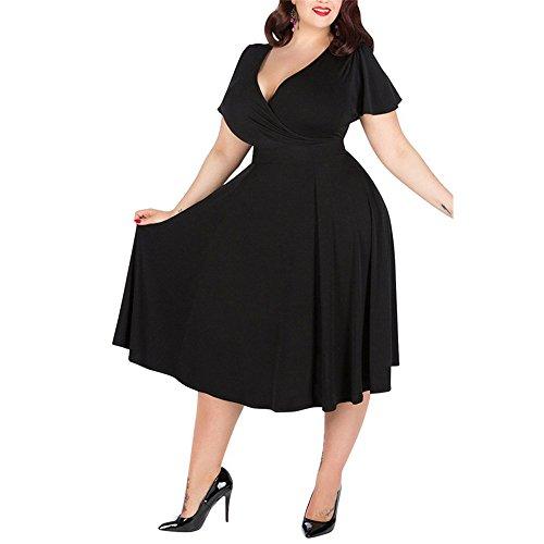 DaBag Charmant und Temperament Reine Farbe Stil Knie- Länge Big Größe 3Xl/4Xl Schlank großen Rock Kleid (4XL, Schwarz)