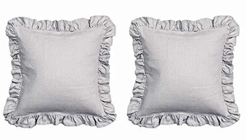 Meaning4 Kopfkissenbezug Kissenbezüge mit Saum Rüschen Baumwolle Grau 80 x 80 cm 2 Stück Bettwäsche Gray European Grey Euro Square -