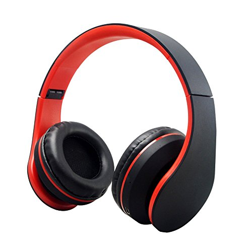 Cuitan Multifunction Universal Wireless Bluetooth V3.0 / Wired 3.5mm Plug Headband Headphones Over-Ear Stereo Built-in Microphone FM Radio Earphone Headset for iPhone 6s, 6, 5s, 4s, iPad, iPod, Samsung Galaxy and other Bluetooth Devices Smart Phones with Audio Cable and Charging Cable - Black red