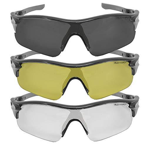 VeloChampion Warp Rahmen Sonnenbrille (mit 3 Linsen) Radfahren, Sport, Radsport-Sport austauschbar, gelb, klar, Linse (Silber-) (Port-spiegelung)