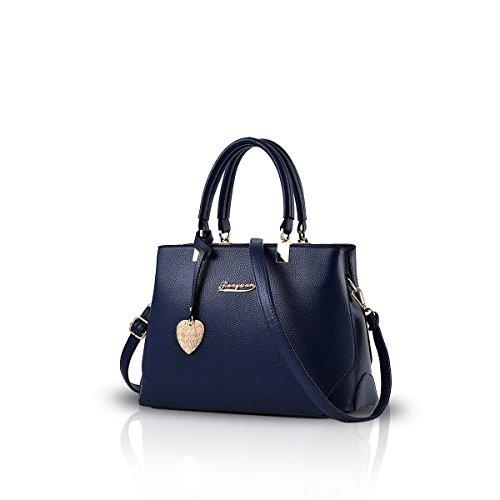NICOLE&DORIS Handtaschen für Damen Henkeltaschen Leder Schultertasche Handtasche Damen Taschen dunkelblau
