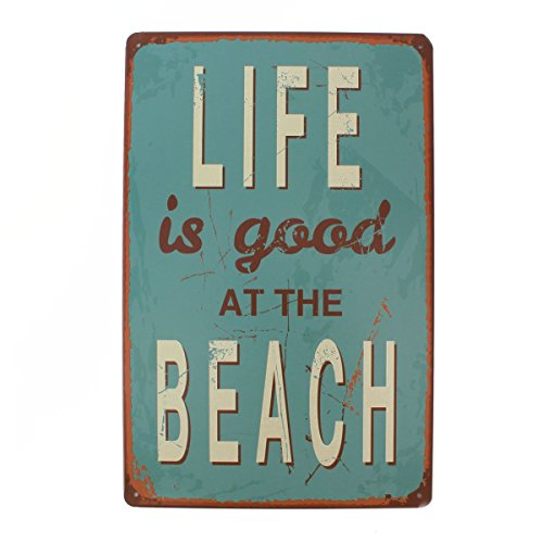 uniquebella-life-is-good-at-the-beach-retro-blechschild-wand-deko-schilder-wand-poster-metall-2030cm