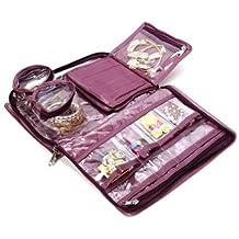 Atorakushon Satin Purple Jewellery Pouch Vanity Bag Organizer For Women And Girls