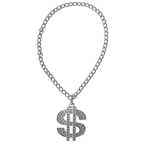 Spassprofi Silbernes Dollar Medaillon mit Kette für Kostüme oder zum Protzen (Big Dollar Daddy Kostüm)