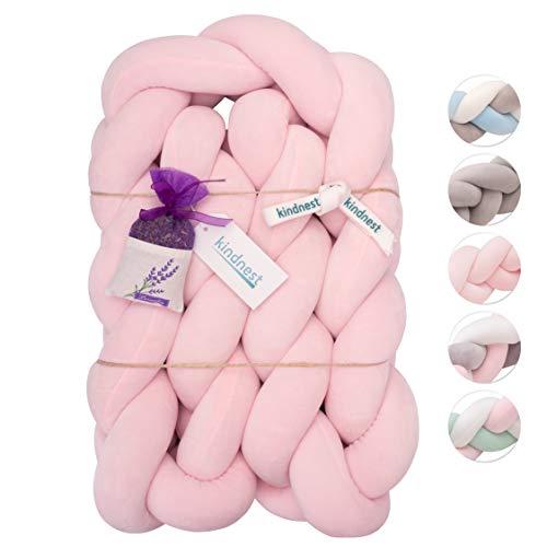 KINDNEST Premium Bettumrandung Lavendel SET Kinderbett Baby Nestchen 2m Krippe Weben Geflochten Stoßfänger Kopfschutz Bettausstattung Dekoration für Babybett Babywiege (Pink, 2m)