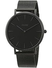 Cluse CL18111 - Mouvement Analogique - Affichage Analogique - Bracelet Acier inoxydable plaqué noir et Cadran noir - Mixte