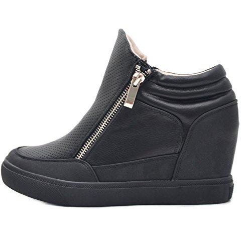 Vain Secrets Sneaker-Wedges in Schwarz oder Weiß (39, Schwarz) (Secret Wedge Sneakers)