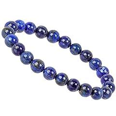 Idea Regalo - PowerBead Bracciale con Pietre preziose e Perle per Yoga, da Uomo e da Donna e Pietra preziosa, Colore: Blu, cod. PB2018-015