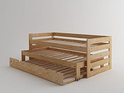 Cama compacta de madera maciza con lamas y nido