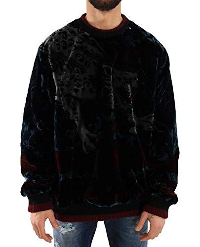 Dolce & Gabbana - Herren Pullover -Wolle - Men Sweater Multicolor Leopard Velvet Pullover Sweater- Size: 60
