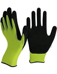 Gants Vert et Noir Latex jardinage par Gants Easy Off. Spécialiste en mousse de latex sur les Conseils paume et doigts pour un maximum de dextérité, durabilité, résistance, confort et adhérence