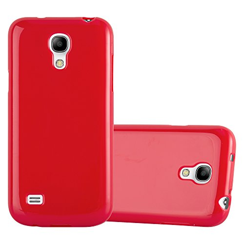 Cadorabo Custodia per Samsung Galaxy S4 Mini in Jelly Rosso – Morbida Cover Protettiva Sottile di Silicone TPU con Bordo Protezione – Ultra Slim Case Antiurto Gel Back Bumper Guscio