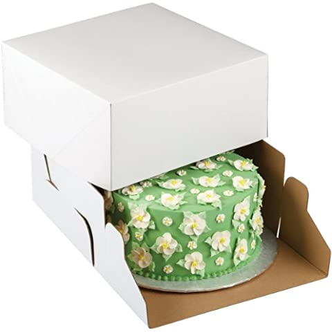 Wilton 415-0725 - Caja de cartón para tartas (25,4 x 25,4 x 12,7 cm, 2 unidades), color blanco