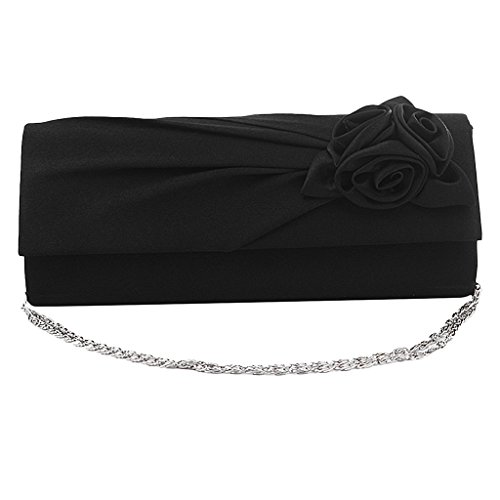 Sharplace Damen Clutch Satin Rose Abendtasche Handtasche Umhaengetasche Satin Strass Party Hochzeit Schwarz