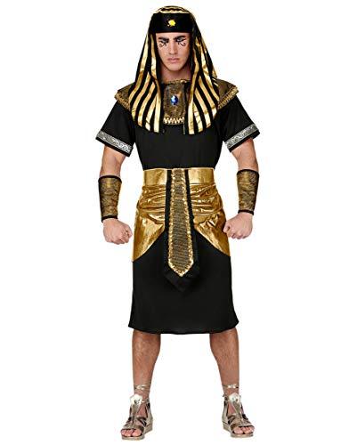 (Pharao Kostüm mit Kopfbedeckung - Schwarz/Gold Historisches Karnevalskostüm M)