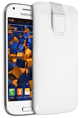 mumbi ECHT Ledertasche für Samsung Galaxy Ace 4 Tasche Leder Etui weiss (Lasche mit Rückzugfunktion Ausziehhilfe)