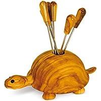 Gabel aus Olivenholz Form Tier 12 x 8,Schildkr/öte Holz SPELLO SRL APERITIVI