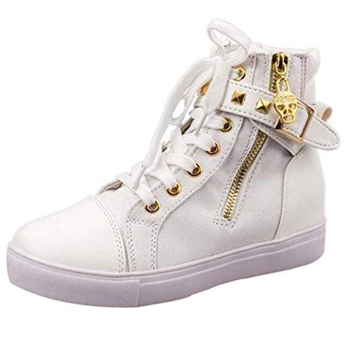(ZHRUI Ausverkauf Fashion High-Top Solid Color Zip Sneakers Kausalen Studenten Schuhe Flache Leinwand Damen Schuhe (Farbe : Weiß, Größe : 3.5 UK))