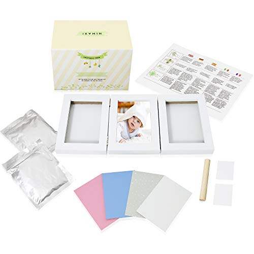 NIMAXI Baby Bilderrahmen mit Gipsabdruck, Größe 39x18cm, Farbe weiß, Bilderrahmen Abdruckset Handabdruck und Fußabdruck