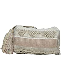 Diwaah Women's Handcrafted Embroidered Off-White Rug Zip Top Bag (DWH000000861)