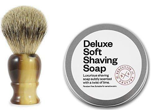 Executive Shaving Best Blaireau Brosse avec Imitation Corne Poignée et 100g Deluxe Doux Rasage Savon Citron Parfum