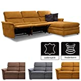 Cavadore Chalsay Polstergarnitur mit Longchair rechts inkl. Relaxfunktion / mit Federkern / Eckcouch im modernen Design / Größe: 252 x 94 x 177 cm (BxHxT) / Farbe: Hellbraun (mustard)