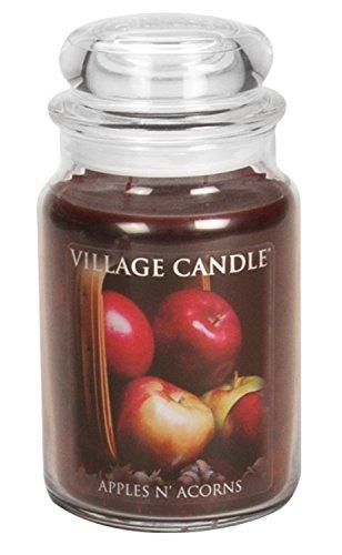 Rot-eiche-designer (Village Candle Duftkerze im Glas groß 17 x 10 cmm, 1219 g Apples and Acorns)