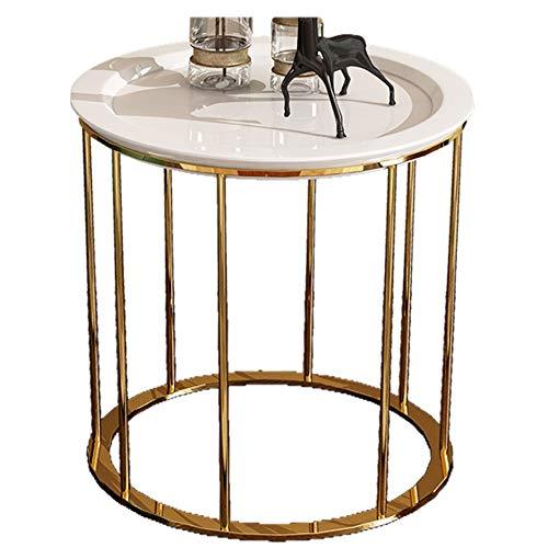 Côté canapé/Table Basse/Côté Post-Moderne, Bois, Mobilier de Maison créative Moderne, Rond, Blanc (50 × 50 × 55,5 cm)