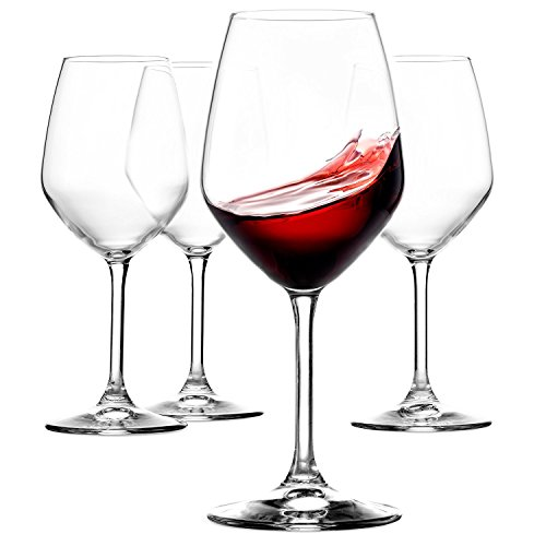 Paksh Novelty Red Wine Glasses - Set of 4 Stemmed Goblet Glasses [532ml] 100% Lead Free Dishwasher Safe Drinking Glasses - Perfect for Anniversary, Wedding & Wine Tasting Glass Gifts - Lead-free Crystal Stemware