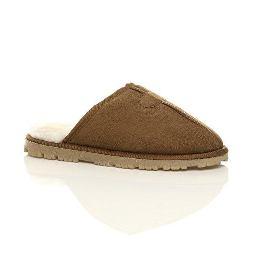 Herren Luxuriös Warm Winter Pelz Gefüttert Gemütlich Geschenk Hausschuhe Pantoffeln Größe Hellbraun