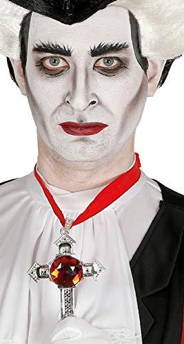 Fancy Me Damen Herren Rubin Kruzifix Kreuz Halskette Halloween Vampir religiöses Heilig-Kostüm Outfit