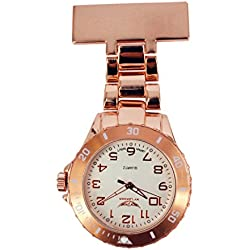 NY London Men's Ladies Metal Rose Gold Coloured Nurse Doctor Paramedic Tunic Brooch Watch