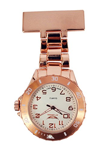 NY-London-Mens-Ladies-Metal-Rose-Gold-Coloured-Nurse-Doctor-Paramedic-Tunic-Brooch-Watch