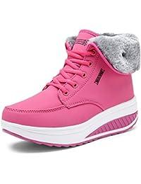 JUWOJIA Las Mujeres Botas De Nieve De Invierno Casual Cuñas Keep Warm Zapatillas Impermeables,C,35