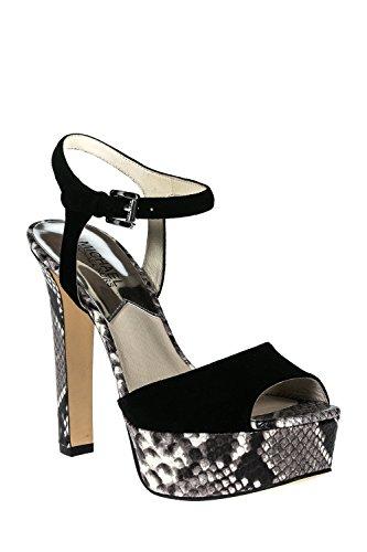 Michael Kors sandales femme à talon en daim noir nero black e natural