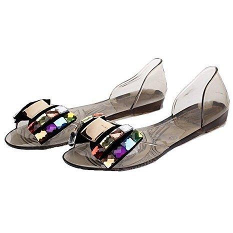 Minetom Dame Abend Beiläufige Flache Mode Bling Bowtie Gelee Slipper Sommer Sandalen Vorne offener Schuh Schuhe Schwarz