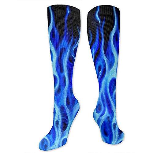 PPPPPRussell Socks Kompressionssocken für Frauen, Männer - Bester Strumpf für Reisen, Mutterschaft, Laufen, Sport, Krampfadern - Blue Flame Fire