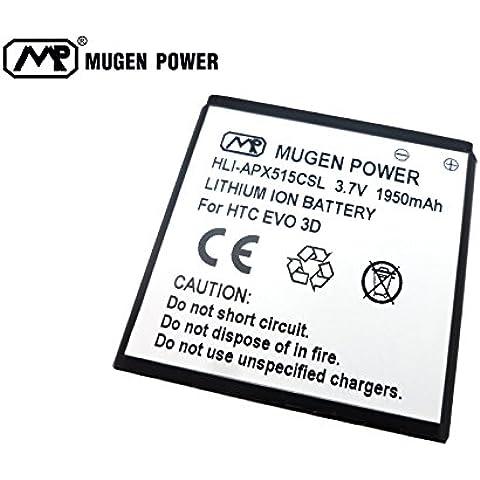 Mugen Power–para HTC EVO 3d/EVO 3d 515m/T-Mobile HTC Amaze 4G 1950mAh batería ampliada de
