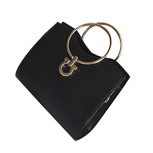 Longra Sacchetto di spalla unica del cuoio del cerchio del ferro di colore solido dell'unità di elaborazione delle donne Nero