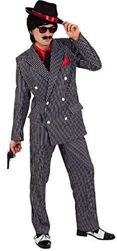 Mafia Boss 1920 Kostüm - Herren 1920s Jahre 20s Gangster Gangsta Mafia Mob Boss Sopran Tv Buch Film Kostüm Kleid Outfit - Schwarz, Large (EU 50/52)