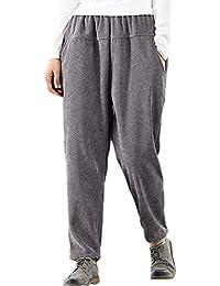 be6b255a00 Vepodrau Pantalones De Pana Holgados Informales De Cintura Elástica Harem para  Mujer