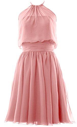 MACloth Women Halter Chiffon Short Bridesmaid Dress Cocktail Formal Party Gown Blush Pink