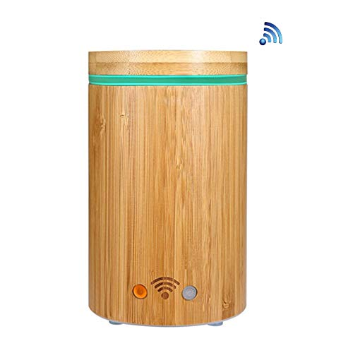 Smart Wifi Aroma Difusor Bamboo Electric SPA Humidificador compatible con Google Alexa con RGB Light...