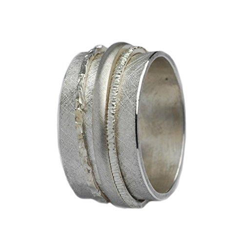 Tiljon Breiter matter Ring 925er Silber mit drehbaren Ringschienen Größen 50 (15.9)