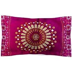 Moroccanity Funda de Almohada de Seda Jacquard con diseño geométrico de Azulejos de Estilo marroquí, 70 x 50 cm, Color Rosa y Dorado
