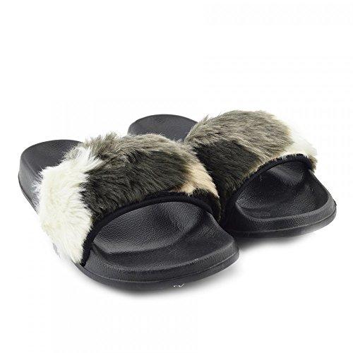 Kick Footwear - DONNA SLIPPER SLIP ON FLAT CURSORE MULI PELLICCIA CIABATTA SANDALI SCARPE Multicolor