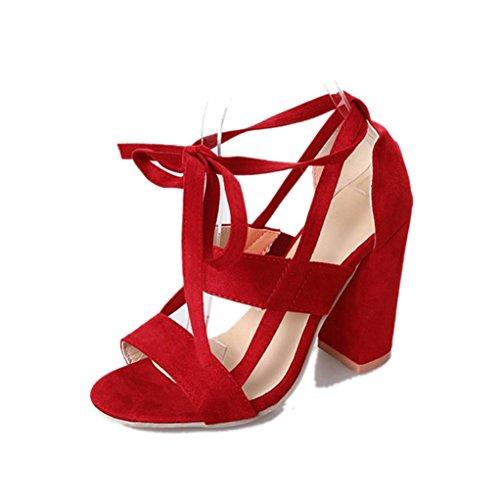 Sandalias mujer, Manadlian Moda Sandalias de mujer Tobillo Tacones altos Fiesta en la calle Zapatos con punta abierta día de San Valentín (CN:39, Rojo)