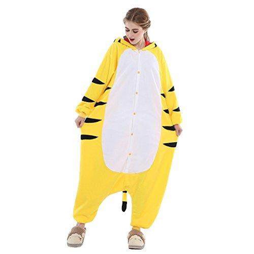 ABYED® Kigurumi Pigiama Anime Cosplay Halloween Costume Attrezzatura,Giallo Tigre Taille Adulte M -pour Hauteur 159-166CM
