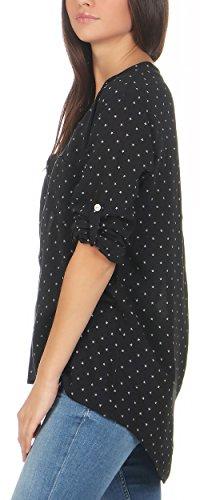 malito Damen Bluse mit Sternen   Tunika mit ¾ Armen   Blusenshirt auch langarm tragbar   Elegant �?Shirt 6733 Schwarz