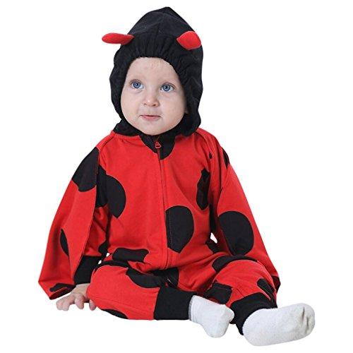 in Schwarz-Rot mit niedlichen Details wie Fühlern, lustigen Punkten und Einer Kapuze, Kleiner Faschings-käfer, Verkleidung für Babys und Klein-Kinder mit Reißverschluss und Kapuze ()